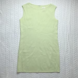 Oscar de la Renta wool green shift dress - 12P